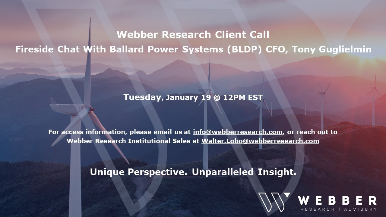 Fireside Chat W/ Ballard Power Systems (BLDP) CFO Tony Guglielmin (Tuesday 01/19)