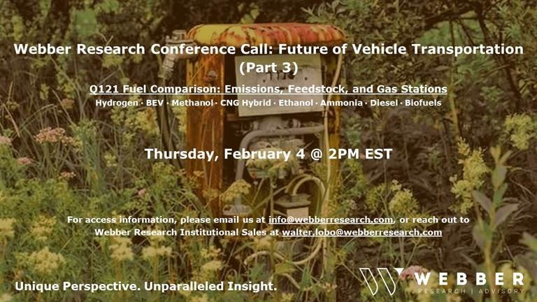 ***Conference Call: Alternative Fuels – Emissions, Feedstock, & Gas Stations, Thurs 2/4 @ 2PM EST – Future Of Transport (Part 3)***